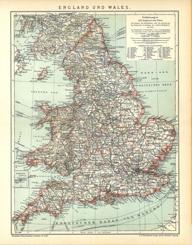 Englischer Kanal alte Landkarte 1894: England und Wales B14 Historische