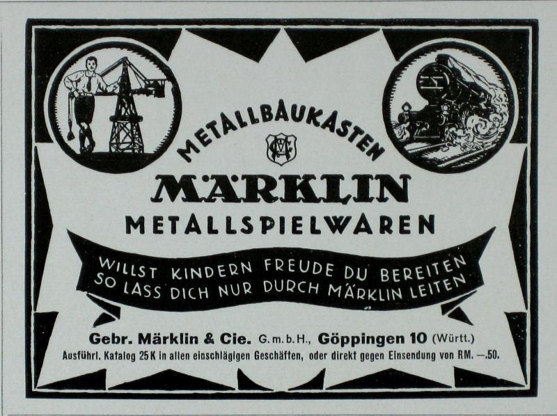 GÖppingen Werbung 1925 Märklin & Cie Märklin Metall-spielwaren-baukästen Gebr