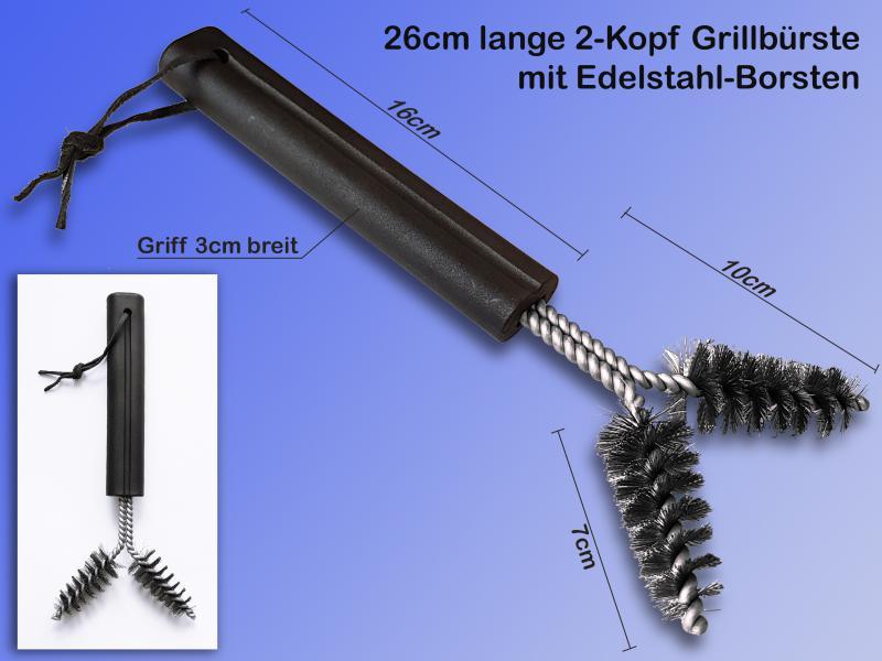 2er Set Grill-Bürste mit Handgriff 3in1 Edelstahl.Grillreinigungsbürste Schaber