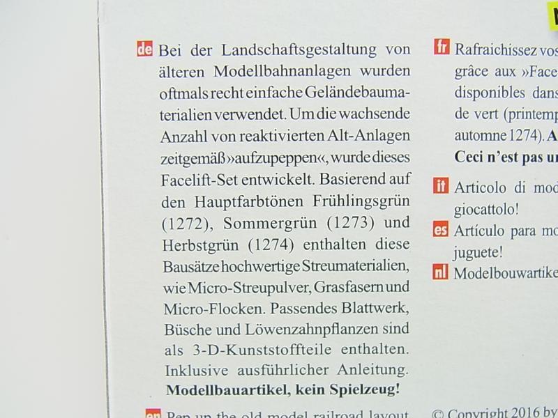 LOT 17833Busch HO 1272 Facelift-Set Frühling Pflanzen Grasfasern NEU in OVP