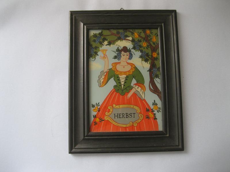 Hinterglasmalerei Jahreszeiten-Bild Herbst Hinterglasbild mit Holz ...